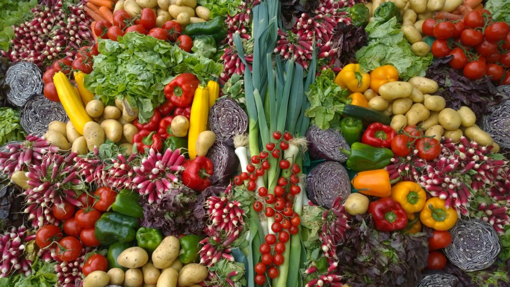 a selection of colourful vegetables, which may make bladder and bowel care easier as part of a healthy diet.