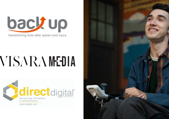 the logos of Back Up, Visara Media, and Direct Digital alongside a photo of Sex Education's George Robinson
