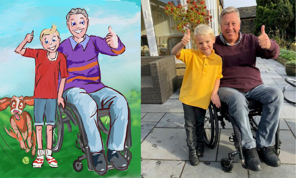 an illustration of Brian and his grandson in the grandad wheels books