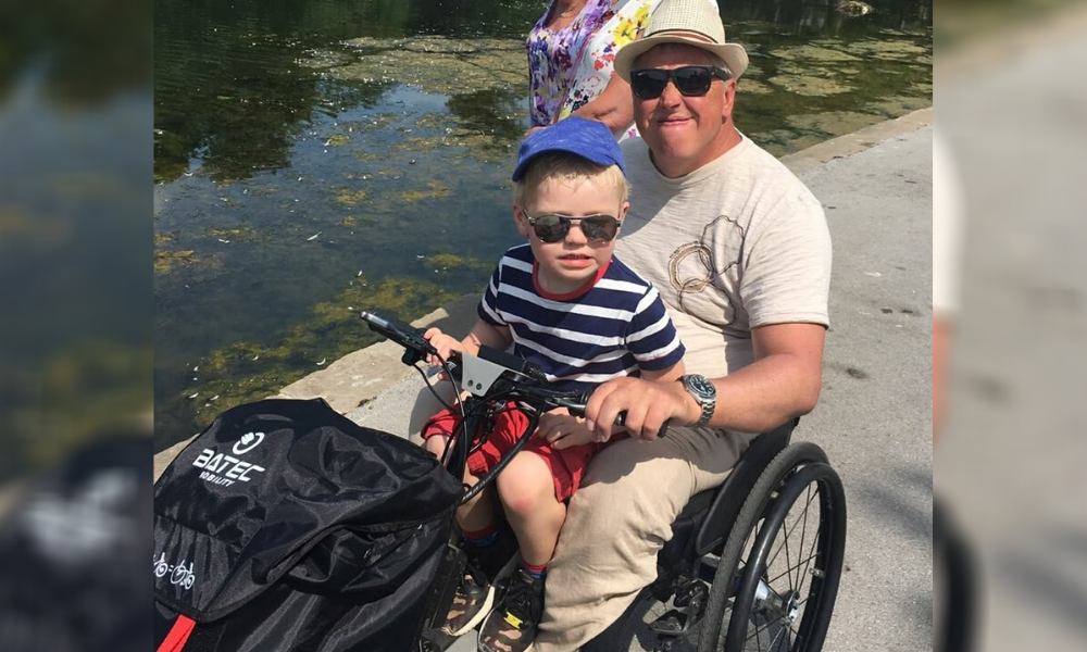 Brian and his grandson. Brian told us about aging well witha spinal cord injury. he wrote the grandad wheels books to fundraise for our services