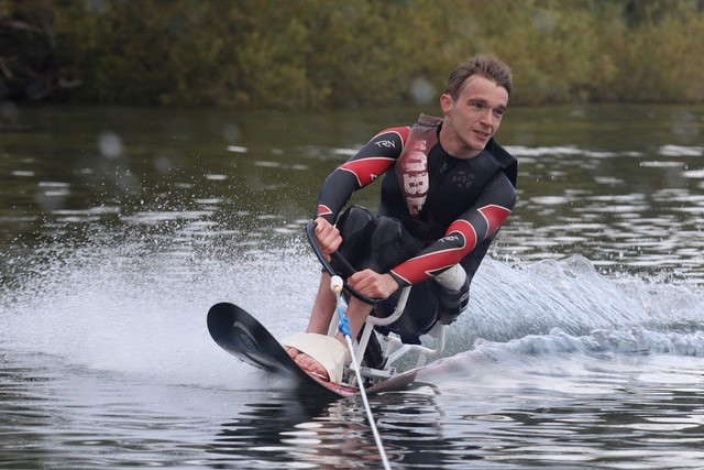 Jonathan, one of our mentors for Supporting young people with a spinal cord injury, waterskiing