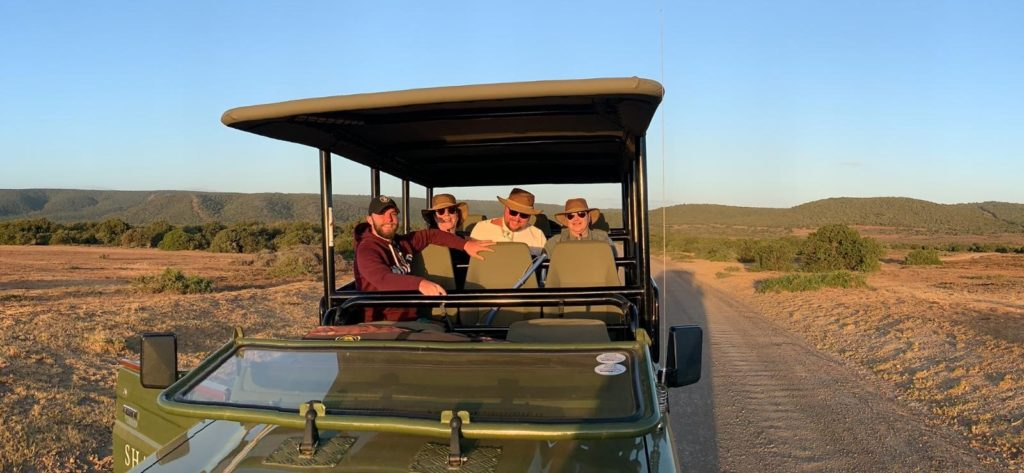 MAtt Hampson, a power chair user, on a safari tour in South Africa