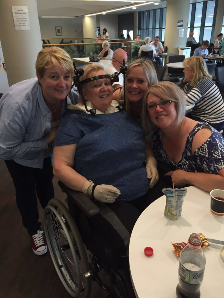 Fiona with friends and staff during her time at Glasgow Spinal Centre