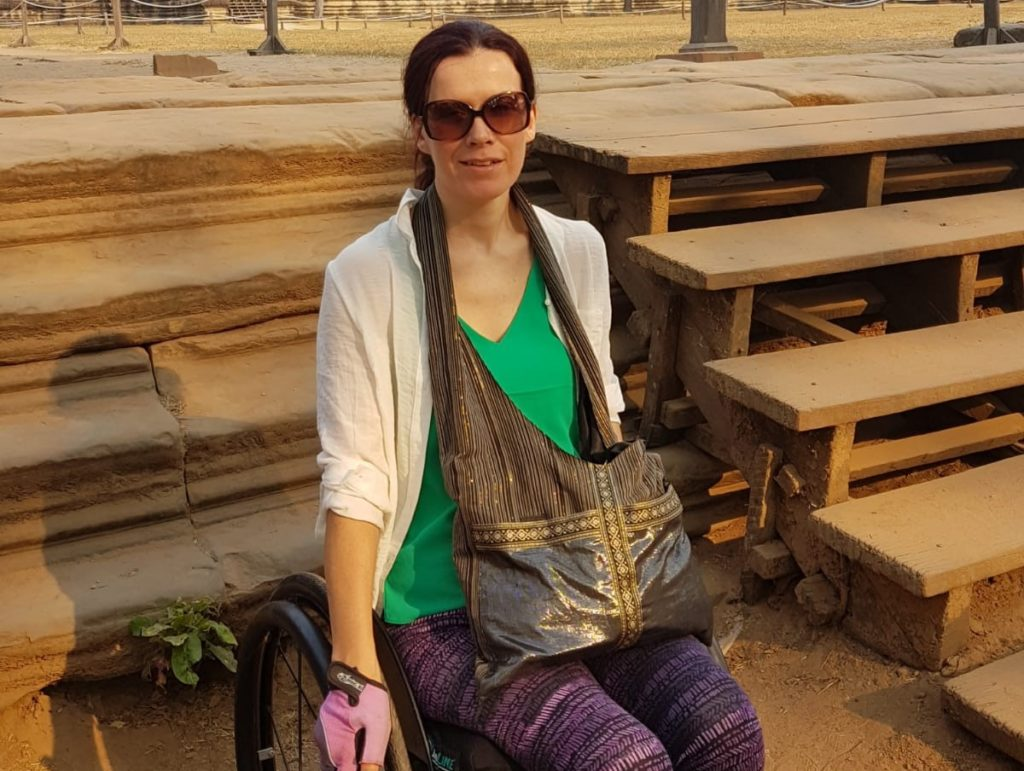 sarah, someone who regained her independence after a high level spinal cord injury, travelling in cambodia