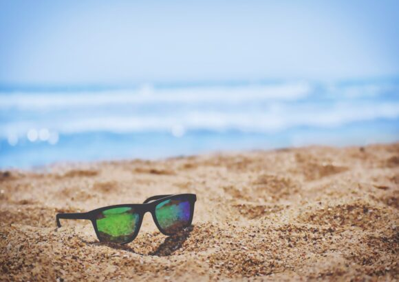 sunglasses on beach