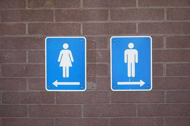 A wall with two bathroom signs