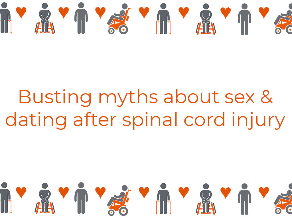 """Drawings of different people with spinal cord injury surround the words """"Busting myths about sex & dating after spinal cord injury"""""""